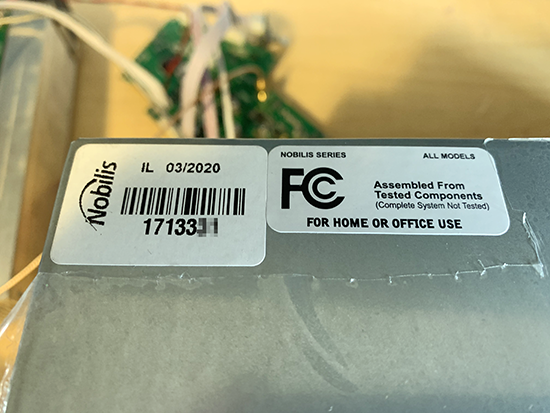 Serial Number Sticker on Rackmount Computer